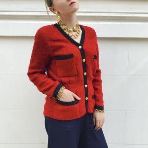 Chanel Vintage Fall 1989 Red Black Tweed Jacket